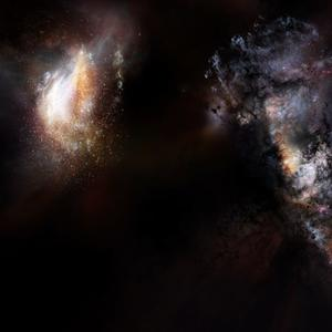 Artist impression of a pair of galaxies from the very early universe. Credit: NRAO/AUI/NSF; D. Berry.
